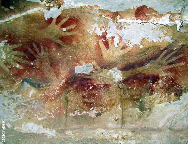 Palm hands drawing in the Leang-Leang Cave, Maros Regency, South Sulawesi.