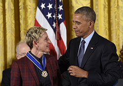 Ellen DeGeneres is among the 21 individuals who received the medals from President Obama